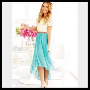 LC Lauren Conrad Chiffon Pleated Hi Low Skirt